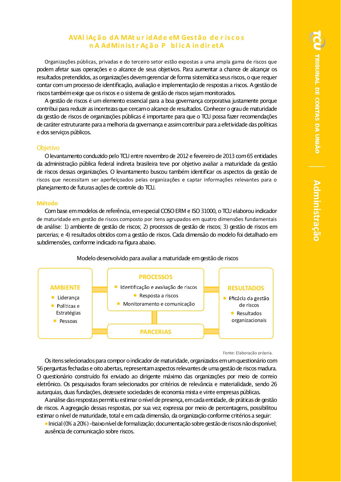9fabb16963 Avaliação da Maturidade em Gestão de Riscos na Administração Pública  Indireta